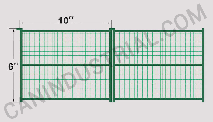 Commercial fence panel feet green can