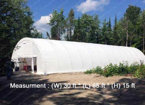 30' x 85' x 15' Storage Building Shelter Dome (450 GSM Fabric)