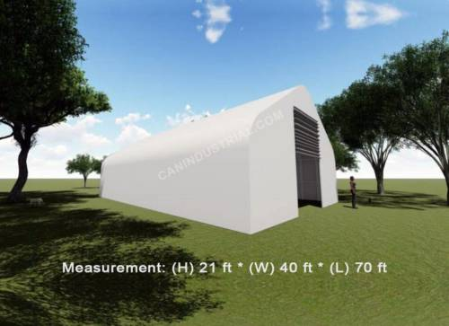 40' x 70' x 21' Storage Building Shelter Double Truss (450 GSM Fabric)