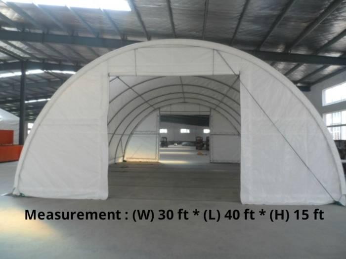 30' x 40' x15' Storage Building Dome Type Single Truss (450 GSM Fabric)
