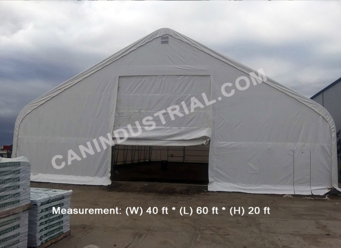 40' x 60' x 20' Storage Building Shelter Double Truss (450 GSM Fabric)