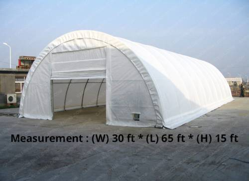 30' x 65' x 15' Storage Building Shelter Dome (450 GSM Fabric)