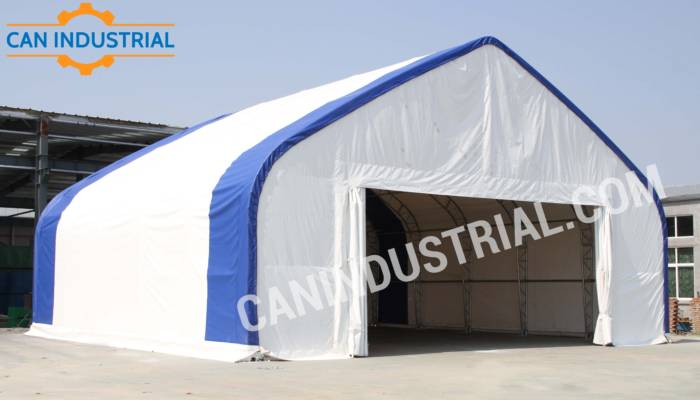 40' x 40' x 18' Storage Building Shelter Double Truss (450 GSM Fabric)