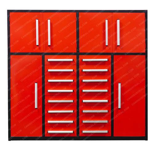 7 Feet 16 Drawer Heavy Duty Steel Tool Cabinet with 2 Top Cabinets