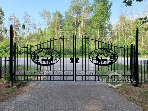 20 Feet Ornamental Wrought Iron Driveway Gate