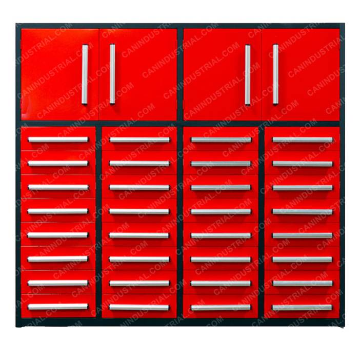 7 Feet 32 Drawer Heavy Duty Steel Tool Cabinet with 2 Top Cabinets