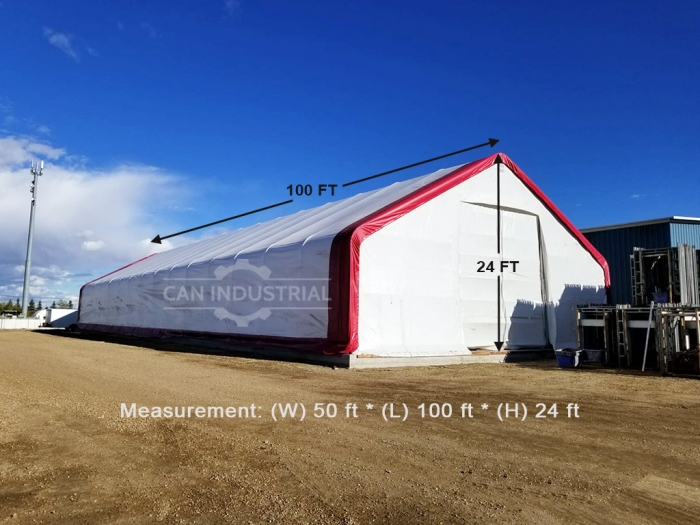 50' x 100' x 24' Storage Building Shelter Double Truss (450 GSM Fabric)