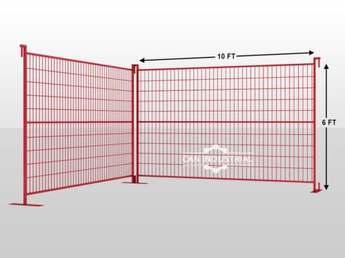 6 x 10 Premium Galvanized Temporary Fence Panel (Red/Yellow Color)