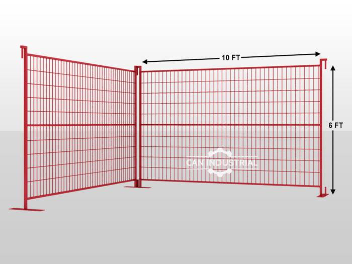 6 x 10 Premium Galvanized Temporary Fence Panel (Red/Yellow Color)
