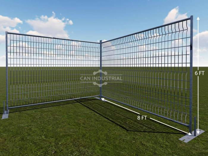 6 x 8 Feet Round Pipe Galvanized Temporary Fence Panels