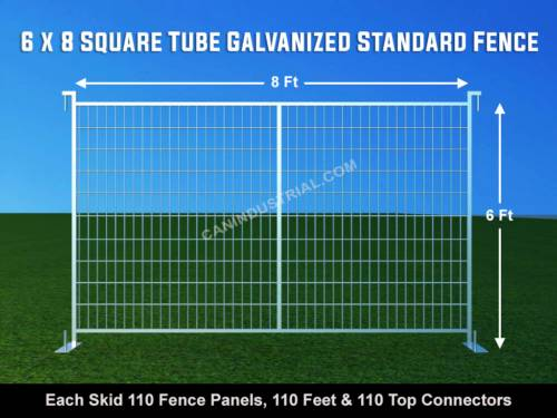 6 x 8 Square Tube Galvanized Standard Temporary Fence Panel