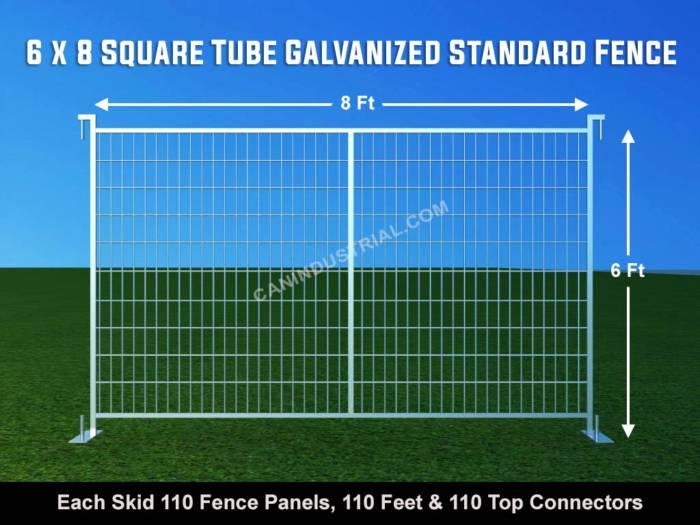 6 x 8 Square Tube Galvanized Standard Temporary Fence Panel