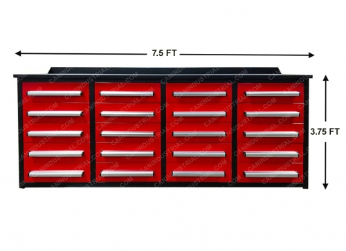 HEAVY DUTY STEEL WORKBENCH -7 FEET 20 DRAWER