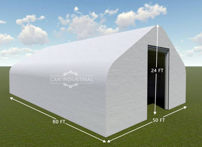 50' x 60' x 24' Storage Building Shelter Double Truss (450 GSM Fabric)