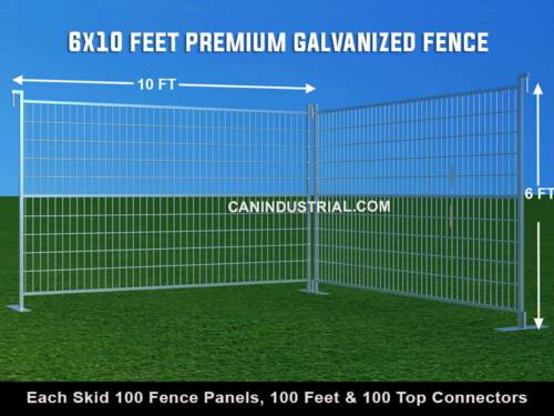 6 x 10 Feet Premium Galvanized Temporary Fence Panels