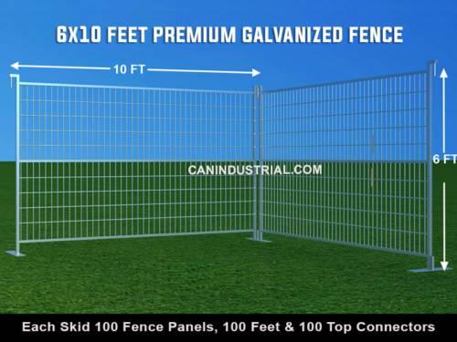 6 x 10 Feet Premium Galvanized Temporary Fence Panels