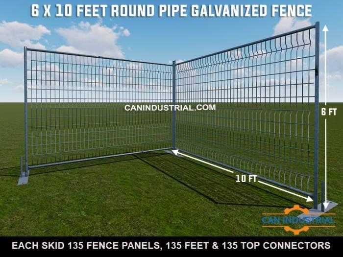 6 x 10 Feet Standard Galvanized Round Pipe Temporary Fence Panels