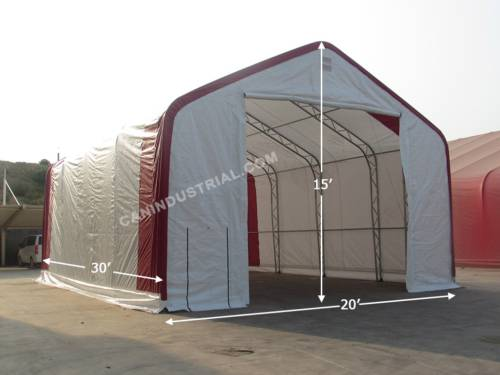 20' x 30' x 15' Storage Building Shelter Double Truss (450 GSM Fabric)