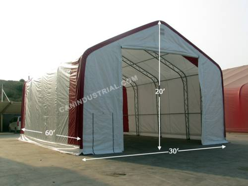 30' x 60' x 20' Storage Building Shelter Double Truss (450 GSM Fabric)