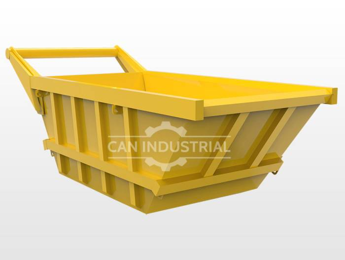 Steel Excavator Dumping Hopper - 7 Cubic Yard, Yellow