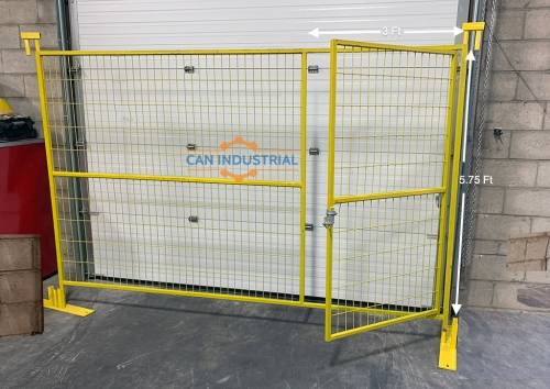 6 x 10 Premium Galvanized Temporary Fence Man Gate Panel (Yellow)